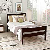 Espresso Bed Frame Twin Wood,JULYFOX Modern Platform Bed with Headboard Footboard Side Rails Wood Slats No Box Spring Needed 300lb Heavy Duty for Small Spaces