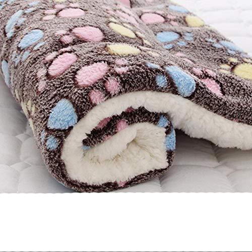 KLIEUWDBAARASRASJ Haustier Matten verdicken weiches Katzenbett für Hundematte Winter Katzenmatte Decke Haustierprodukte Hundebett für kleine große Hunde Teppich-Kaffee Pfotenabdruck, 70x90cm