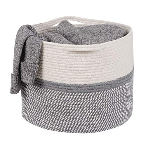 Joolihome Cotton Rope BasketStorage Laundry Basket Baby ToyBlanketClothes Nursery Basket with HandelBin WhiteGrey 38x38x30cm