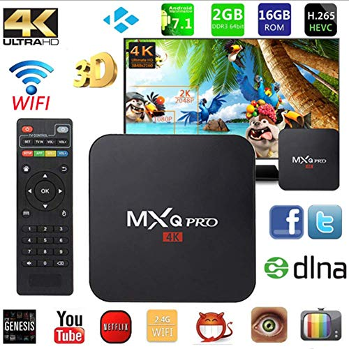 LOISK MXQ-PRO Android 7.1 TV Box, RK3229 Quad-Core 2GB RAM + 16GB ROM Smart Set-Top-Box 2,4-Ghz-WiFi USB 3.0 H.265 3D 4K Ultra HD Media Player