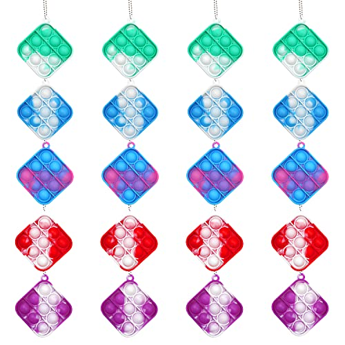 20 Pack Mini Stress Relief Hand Toys, Mini Keychain Tie Dye Push Pop Bubble Fidget Sensory Toy, Stress Reliever Office Desk Toy, Squeeze Sensory Toy for Kids and Adults Autism ADHD Special Needs