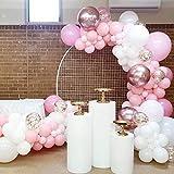 LAKE Kit Arco con Ghirlanda di Palloncini Rosa, 117 Pezzi di Palloncini con Paillettes Rosa Bianchi Rosa per Baby Shower Compleanno, Addio al Nubilato, Festa per Ragazze, Decorazioni di Sfondo.