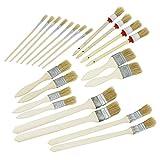com-four 22-teiliges Set Malerpinsel, Pinselset für Kunst und Malerarbeiten im Haus und Garten, Flach- und Rundpinsel in vielen Größen