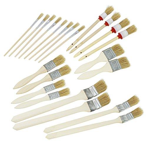 com-four® 22-teiliges Set Malerpinsel, Pinselset für Kunst und Malerarbeiten im Haus und Garten, Flach- und Rundpinsel in vielen Größen