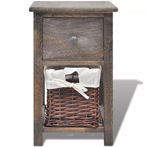 Vislone Mesita de Noche de Madera,marrón Encanto rústico y Fácil de Limpiar,Utilizar como un Soporte de teléfono, Mueble Auxiliar, a etc.