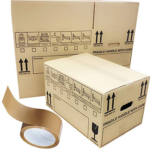 20 Double Wall Cardboard Removal Boxes Storage Packing Moving Shipping Cartons with Carry Handles, Brown Tape & Printed Room List 20x13x13'/50x33x33cm