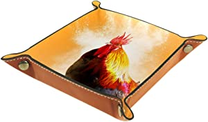 Cock Valet Tray Storage Organizer Box Coin Tray Key Tray Nightstand Desk Microfiber Leather Pouch,16x16cm