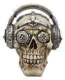 Ebros Gift Steampunk Punk Robot R&B Funk Music Fanatic with Headphone Gearwork Beats Cans Set Skull Decorative Figurine 6' Long Victorian Sci Fi Skulls Skeletons Ossuary Macabre Decor