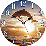 TAHEAT 14 Inch Jumping Dolphin Wall Clock, Wooden Round Silent Non ticking Clock, Battery Operated Easy to Read Wall Clock for Kitchen/ Living Room/ Bedroom/ Home Decor