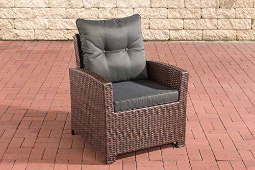 CLP Polyrattan-Sessel Fisolo Mit Sitzkissen I Gartenstuhl Mit Untergestell Aus Aluminium, Farbe:braun-meliert, Polsterfarbe:Anthrazit