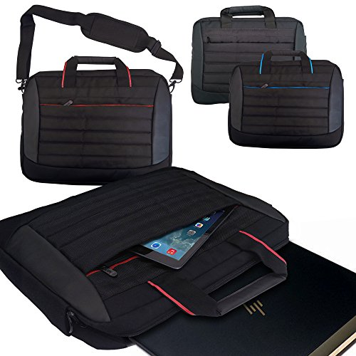 Laptop Bag for HP Spectre x2 Detachable (12') / BLACK & RED Lightwight Durable Protective Notebook Case Sleeve Messenger Briefcase with extra Pockets, Compartments for Phone, iPad, Tablet and Accessories with Handles and Detachable Shoulder Strap Suitable for 13-14.5' inch Models Computers