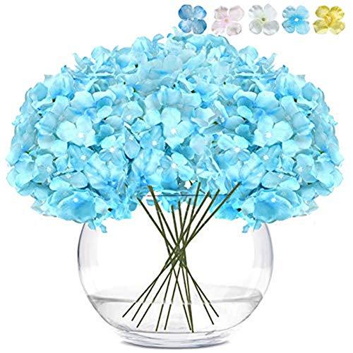 LKCELL - 10 Flores Artificiales de Seda para hortensias con Ramo de Flores para decoración del hogar con Tallos Largos