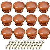 avodova 12pcs vintage pomolo per mobile in legno, 33mm pomelli per porta, pomelli per mobili, maniglia per armadietto, manopole per mobili da cucina, pomelli per cassetti, armadio cassetto (marrone)