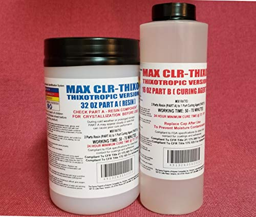 MAX CLR THIXO -Food Safe Epoxy Coating -Direct Food Contact - Thickened for Vertical Application- Less Runs & Drips, Coating for Wood Turned Bowls Cups & Mugs 3D Printed Parts Coating