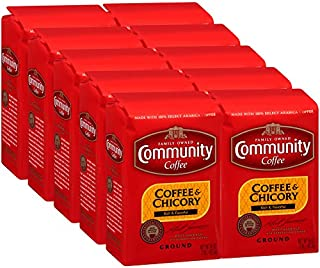 Community Coffee and Chicory Medium Dark Roast Premium Ground 16 Oz Bag (10 Pack), Full Body Rich Flavorful Taste, 100% Select Arabica Beans