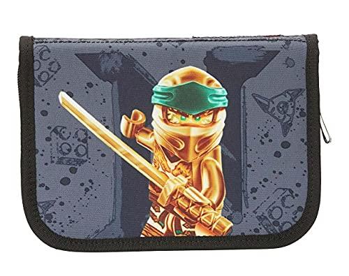 BBM Lego Bags - Estuche con 20 Piezas Relleno, Estuche con diseño de Lego Ninjago Dorado, Estuche Gris con Contenido, Estuche Escolar con Nombre, horario, Regla y sacapuntas