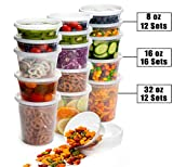 Safeware 8, 16, 32 Oz [40 Sets] Deli Plastic Food Containers with Airtight Lids, Leakproof Slime...