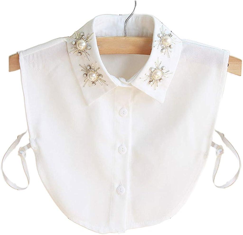 YOUSIKE Detachable Blouse, Women Chiffon Lapel Dickey False Collar Rhinestone Pearl Beading Snowflake Floral Detachable Half Shirt Blouse Sweater Decorative Accessory