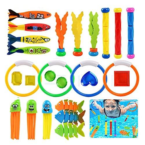 Juguetes de Buceo, 26pcs Juguete de Natación Buceo Conjuntos de Juegos Anillos de Buceo, Torpedos Bandidos, Palos de Buceo, para Piscina Natación Subacuática para niño