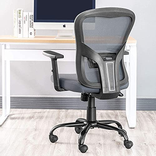 QY Ergonomic Office Chair with Lumbar Support and Adjustable Arms, Grey Mesh Back Computer Chair, Comfortable Conference Manager Chairs for Home Office Study Work