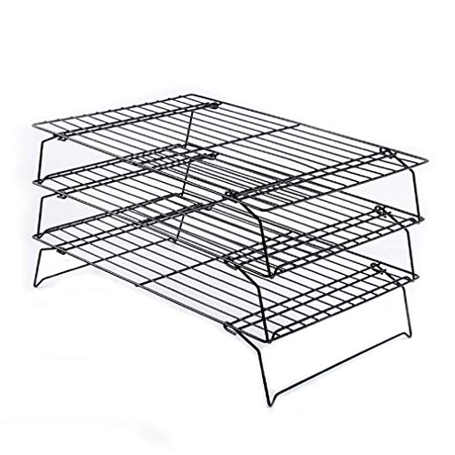 ASFD Non-Stick 3-Tier Cooling Rack Stackable Collapsible Rectangle Wire Rack Cooking Baking Cooling Rack For Cookies Cakes(Black)