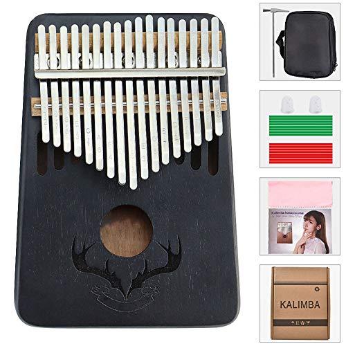 XLNB Kalimba 17 Keys Thumb Piano mit Lernanleitung und Stimmhammer, tragbares afrikanisches Massivholz-Fingerpiano, Geschenk für Kinder Erwachsene Anfänger,Schwarz