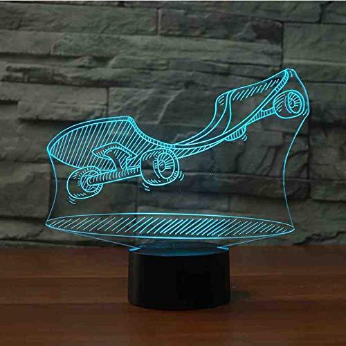 BJDKF Skateboard met wieltjes, modelled, 7 kleuren, 3D-lamp, LED, nachtlampje, Kid Touch USB, Rue Art, Lampara, nachtlampje