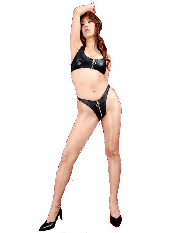 Fashion Queen セクシー 女王様風 ファスナー ビキニホットパンツ ハイレグ レオタード水着 モノキニ ランジェリーセット