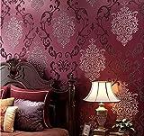 Papel Pintado Tejido No Tejido Damasco Europeo Moderna Resistente a la Humedad 3D Decoración para Sala de Estar Habitación Cocina Comedor Fondo de TV 0.53 m x 9.5 m (Rojo)