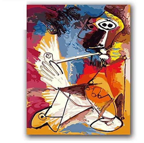 Bricolaje Pintura Al Óleo Por Números Picasso Cuadros Abstractos Cuadros Musicales Por Números Con Paquetes de Paquetes Para Decoración de Habitaciones de Hotel 40X50 CM,Con marco de madera,E