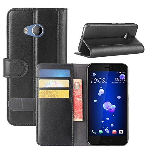 HualuBro HTC U11 Life Hülle, [All Aro& Schutz] Echt Leder Leather Wallet Handy Tasche Schutzhülle Hülle Flip Cover mit Karten Slot für HTC U11 Life Smartphone (Schwarz)