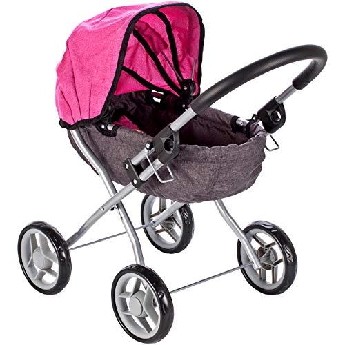 MalPlay Puppenwagen Little Princess | Kinderwagen Puppen zusammenklappbar | Kinderwagen Spielzeug für Puppen bis ca. 40 cm | ab 1 2 3 Jahre | rosa mit Prinzessin - Motiv