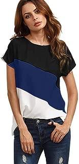 Camiseta Camiseta Mujer Parche Color Block Chiffon Manga Corta Camiseta Casual Cosecha de Verano
