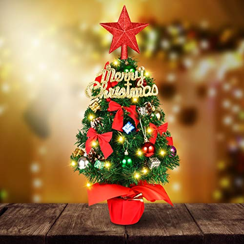 Artificial Mini Tabletop Christmas Tree - YUNLIGHTS 22' Small Prelit Desktop Xmas Tree, Battery Operated Miniature Christmas Tree with LED String Lights and DIY Kits for Christmas Decorations