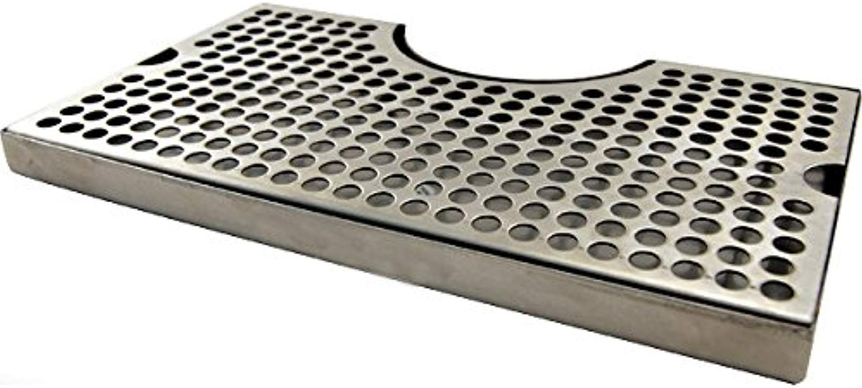 HomeBrewStuff 1 X 12 Surface Mount Kegerator Beer Drip Tray Stainless Steel Tower Cut Out No Drain