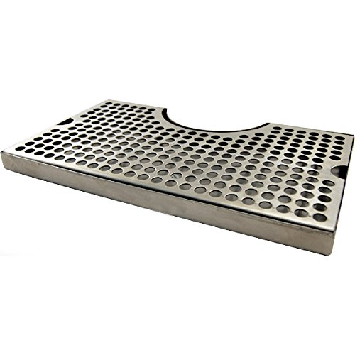 "HomeBrewStuff 1 X 12"" Surface Mount Kegerator Beer Drip Tray Stainless Steel Tower Cut Out No Drain"