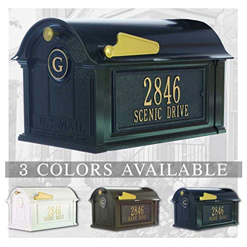 Personalized Whitehall Balmoral Mailbox with Door & Side Address Plaques Personalized Mailbox (3 Colors Available)