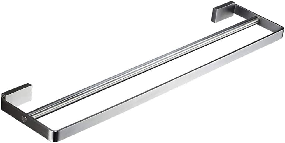 Towel Rack Wall Mount Stainless Steel -Thickening Widened Base Towel Rail Double-Pole Rod Bathroom Hotel Door Kitchen, 5 Size
