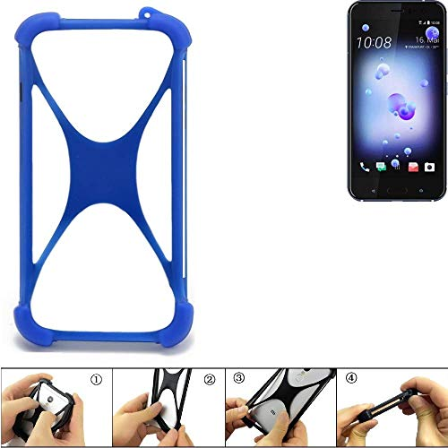 K-S-Trade Handyhülle Für HTC U11 Dual-SIM Silikon Schutz Hülle Cover Case Bumper Silikoncase TPU Softcase Schutzhülle Smartphone Stoßschutz, Blau (1x)