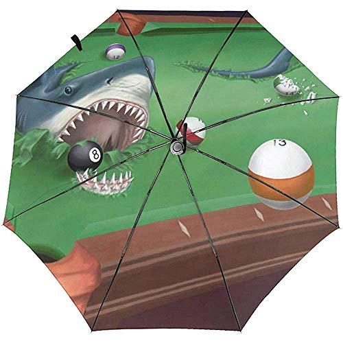 Automatischer dreifachgefalteter Regenschirm Shark Billiards Broker Automatischer dreifachgefalteter Regenschirm Sonnenschutz Winddicht UV Regenschirme Taschenschirm Für Männer Frauen