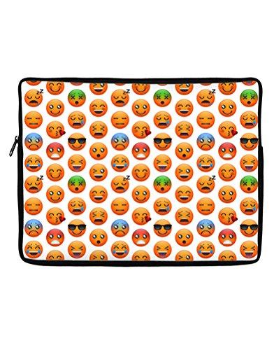 TooLoud Lots of Emojis AOP 17' Neoprene Laptop Sleeve 14' x 10' Landscape