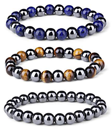 Milacolato 3 Unids Terapia de Hematita Magnética Beads Pulsera Hombres Mujeres Energía Curativa Piedra Natural Pulsera Ajustable Ojo de Tigre Piedra