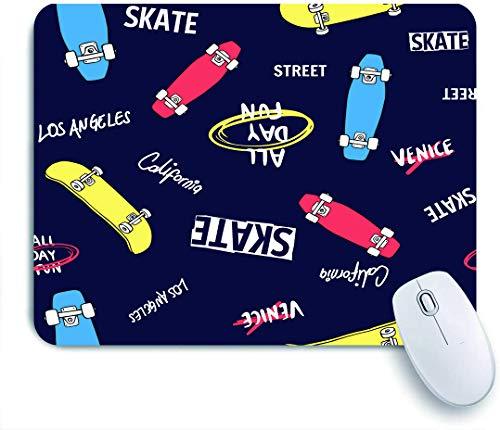 Dekoratives Gaming-Mauspad,und gezeichnete Skateboard-Elemente nahtlos pattern,Bürocomputer-Mausmatte mit rutschfester Gummibasis