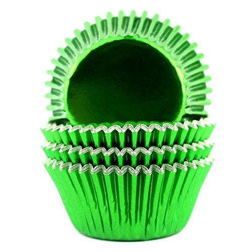 Eoonfirst Foil Metallic Cupcake Liners Standard Baking Cups 100 Count (Green)