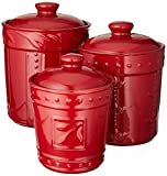 Signature Housewares, Ruby Sorrento Collection Set of Three Canisters, 80 Ounce, 48 Ounce, 36 Ounce, 80 oz/48 oz/36 oz