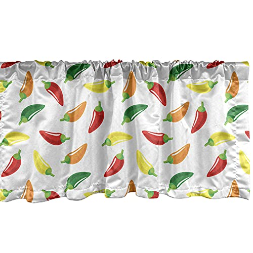Ambesonne Peppers Window Valance, Chili Pepper Pattern with Colorful Digital Vegetable Art Design Composition Vegan, Curtain Valance for Kitchen Bedroom Decor with Rod Pocket, 54
