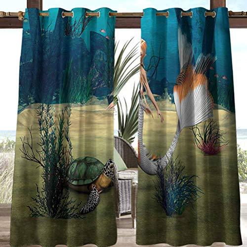 Anmaseven Mermaid Polyester Outdoor Curtain Pergola | Cabana |Backyard| Garden| Wedding Mermaid Turtle Ocean 118' W by 95' L(K299cm x G241cm)