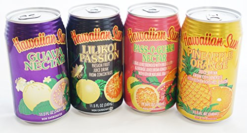Hawaiian Sun Nectar Sampler Set of 4 cans (Pass-O-Guava,Pineapple-Orange,Lilikoi - Passion Fruit, Guava) The 4 best flavors!