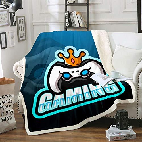 Tbrand Videospiel Wohndecke Gamepad Decke 220x240cm für Kinder Weiß Moderner Gamecontroller Kuscheldecke Crown Games Design Atmungsaktive Flanell Fleecedecke
