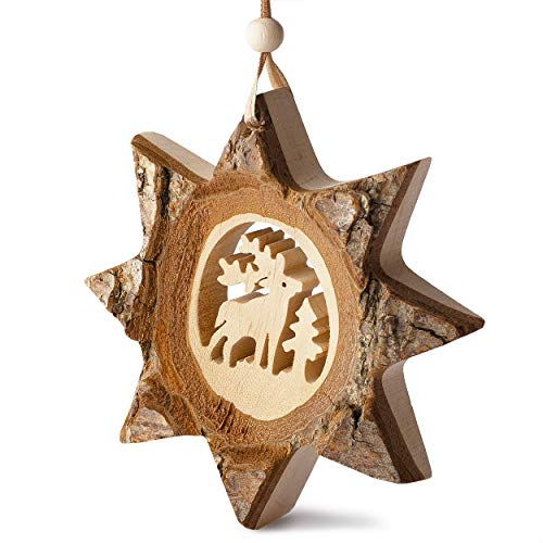 Forest Decor Wood Rustic Christmas Decorations, Deer, Holiday Hanging Decor for Families, Rustic Christmas Tree Ornaments, Includes Hang Tie, Ornaments for Christmas Tree Handmade in Germany